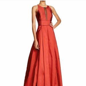 Aidan Mattox Illusion Sleeveless Taffeta Gown